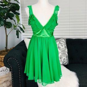 BRAND NEW GREEN FLOWY MINI DRESS